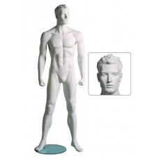 Etalagepop heer in fitness houding A wit G80028-heer