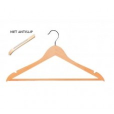 Houten kledinghanger vlak broeklat inkepingen anti-slip 100st Tms7139