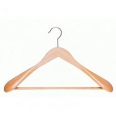 Houten kledinghanger brede schouder+broeklat 20st HH13139